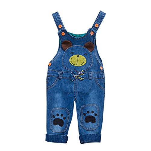Hoared Cute Cotton Toddler Jeans For Girls Fashion Baby Overalls Spring Jeans Blue -
