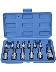 Insex -hylsasats, fyrkantig skiftnyckel -hylsa -hylsa 1/4in 3/8in 1/2in automatisk underhållsreparation med verktygslåda