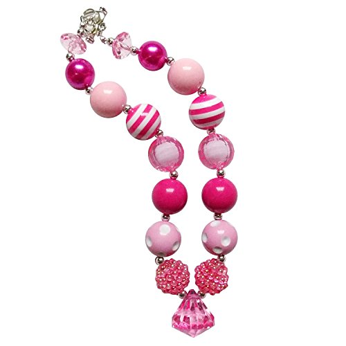- So Sydney Baby Toddler Girls Princess Chunky Bubblegum Beads Beaded Necklace (Hot Pink Party)