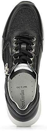 Nero Giardini E010471d Sneakers À Fermeture Éclair En Cuir Véritable/maille Noire Pour Femme
