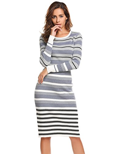 BEAUTYTALK Women's Long Sleeve Striped Knit Sweater Work Casual Pencil Dress Dress Grey S