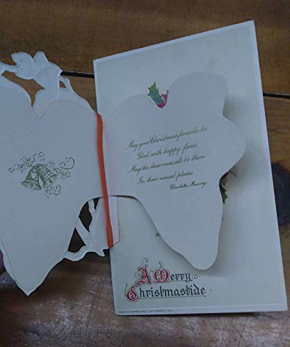 - Christmas Greetings Winter Landscape Ivy Leaves Poinsettia Fold Out PC JA455310