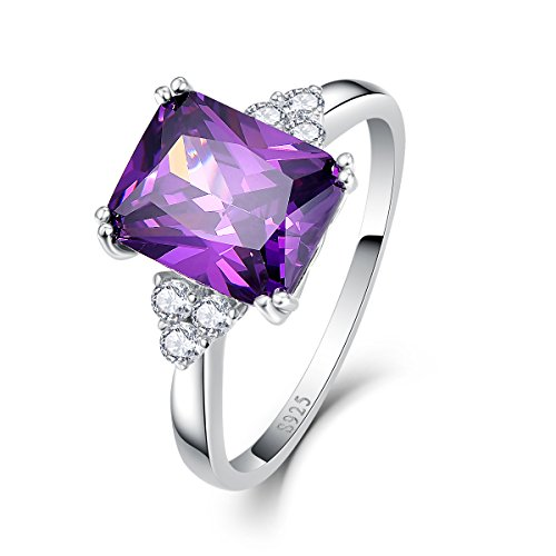 Bonlavie Square Cut Created Amethyst 925 Sterling Silver Women's Solitaire Ring Size 8.5