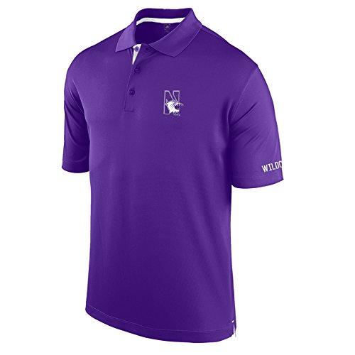 J America NCAA Northwestern Wildcats Men's Spector Poly Interlock Polo Shirt, Purple/White, Large