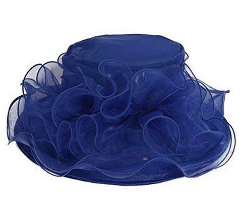 Beach Sun 5 Woman Ornato blu Elegant viaggi Acvip Flower Summer colori Hat Organza per Capeline 7vd5wq