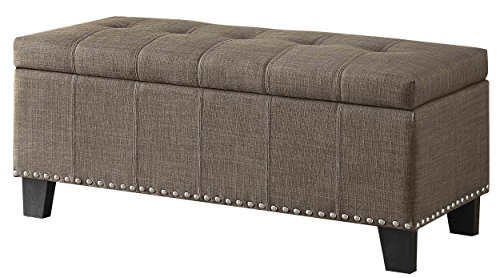 Homelegance Fedora Upholstered Ottoman with Tufted and Nail Head Accent, Brown