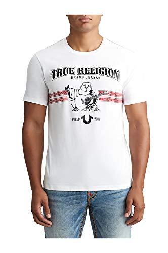 True Religon Men's World Tour Buddha Graphic Tee T-Shirt in White (Large)