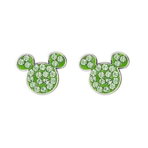 - Disney Mickey Mouse Birthstone Jewelry for Women, Sterling Silver Pave Crystal Stud Earrings (More Colors Available) Mickey's 90th Birthday Anniversary, August