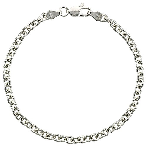 Sterling Silver Cable Link Chain Necklace 3.8mm Nickel Free Italy, 18 - Cable Silver Sterling 4mm Link