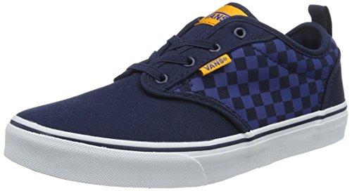 Vans YT Atwood Slip-On, Boys Low-Top Sneakers, Blue ((Checkers) Blue/Orange), 3.5 UK (36 EU) -