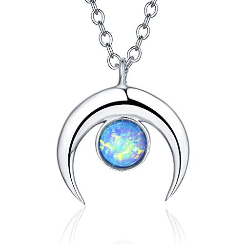 TRENSYGO 925 Sterling Silver Created Fire Opal Waning Crescent Moon Necklace for - Moon Necklace Opal