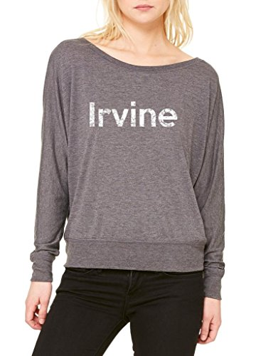 Ugo Irvine CA California Map Flag Home of University of Los Women's Flowy Long Sleeve Off - Outlet Irvine