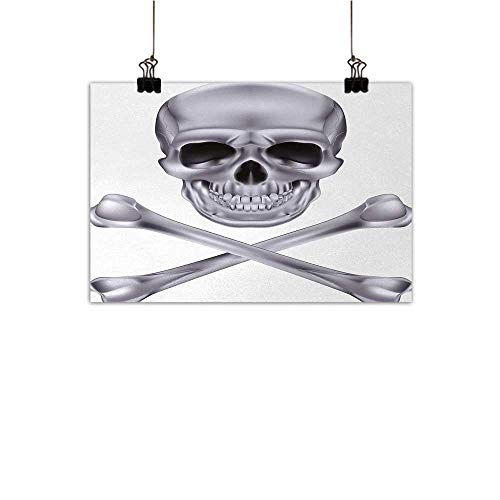 Gabriesl Silver Canvas Wall Art for Bedroom Home Decorations Vivid Skull and Crossbones Dangerous Scary Dead Skeleton Evil Face Halloween Theme Artwork for Wall Decor Dimgray W36 x H32 -