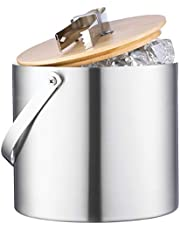 Double-Wall Stainless Steel Insulated Ice Bucket With Lid and Ice Tong - [3 Liter] Modern Bamboo Lid With Build In Tong- Comfortable Carry Handle- Great for Home Bar, Chilling Beer, Champagne and Wine Visit the FineDine Store