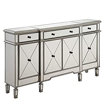 Elegant Lighting 3 Drawer 4 Door Cabinet in Silver Clear 60 x 14 x 36