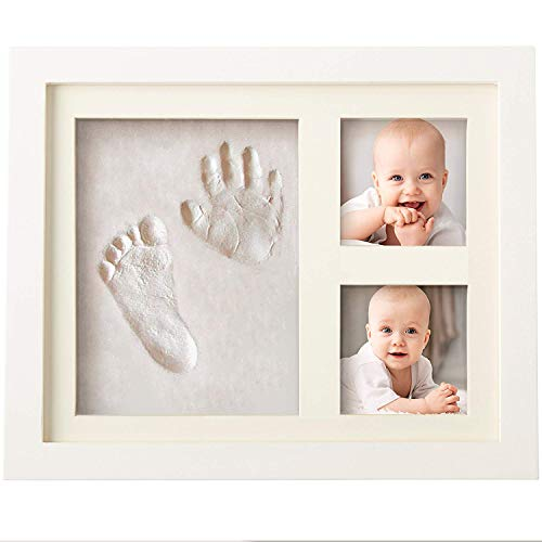 Bubzi Co BabyFootprint Kit & Handprint Photo Frame for Newborn Girls and Boys, Baby Photo Album for Shower Registry, Personalized Baby Gifts, Keepsake Box Decorations for Room Wall Nursery Decor