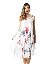 Riviera Sun Acid Wash Dress with Floral Hand Painted Design