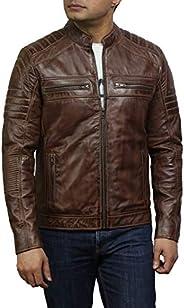Brandslock Brown Leather Jacket Mens - Cafe Racer Real Lambskin Leather Distressed Motorcycle Jacket