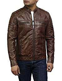 c326891d580f3 Brandslock Brown Leather Jacket Mens - Cafe Racer Real Lambskin Leather  Distressed Motorcycle Jacket