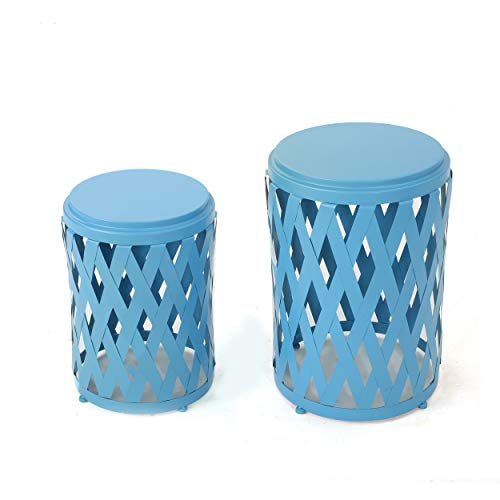 Cheap GDF Studio Ellen Nestable Outdoor Small and Large Iron Side Table Set (Set of 2) (Matte Blue)