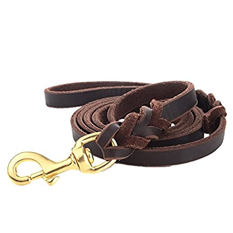 """Leather Dog Training Leash 6 ft x 5/8"""" by Vcalabashor / Genuine Braided Latigo Leather / Soft & Durable / Suitable for Medium Large Dogs / Best Choice for Dog Obedience"""