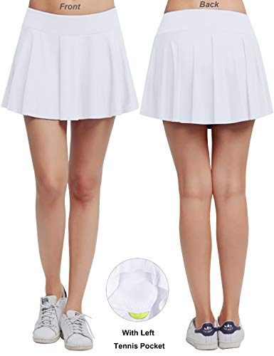Womens Built-in Shorts Skirts Fitness Pleated Skirts Active Running Tennis Golf Lightweight Skorts