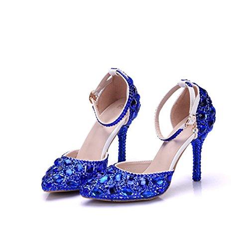 Tacco Da Donna Cinturino Alla Caviglia Con Strass Cristalli Scarpe Da Sera Da Sposa Scarpe Blu-9cm Tacco