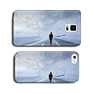 Woman in a snowy road cell phone cover case iPhone6 Plus