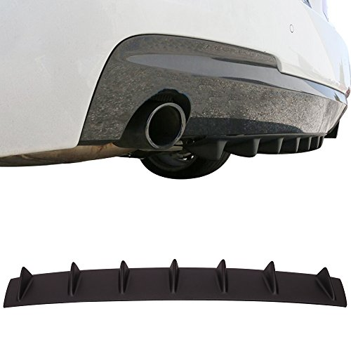 "Rear Bumper Lip Diffuser Fits Universal Cars | 33"" x6"" Universal Style Textured Matte Black ABS Aftermarket Replacement Parts Rear Splitter 7 Fin by IKON MOTORSPORTS"