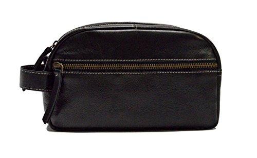 Timberland Men's Leather Travel Kit Toiletry Bag Dopp Kit Ov