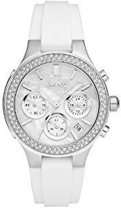 DKNY Mother of Pearl Dial Silver-tone White Rubber Strap Ladies Watch NY8196 from DKNY
