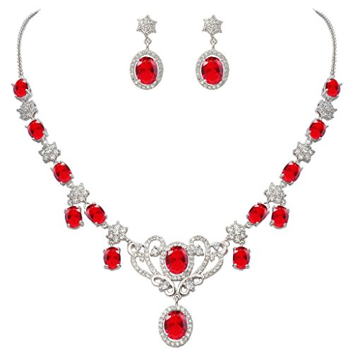 (EVER FAITH Women's Zircon July Birthstone Wedding Knot Necklace Earrings Set Ruby Color Silver-Tone)