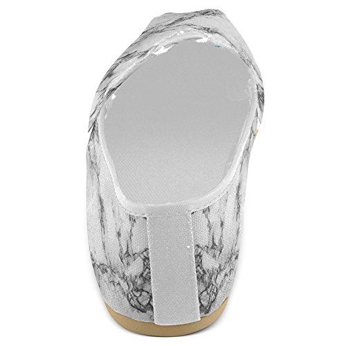 InterestPrint Frauen Loafers Klassische beiläufige Segeltuch-Beleg-auf Art- und Weise beschuht Turnschuhe-Ebenen Marmor