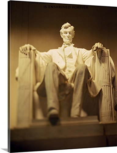 Premium Outdoor Canvas Wall Art Print entitled Statue of Abraham Lincoln illuminated at night, Lincoln Memorial, Washington DC - Illuminated Lincoln Memorial