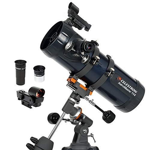 🥇 Celestron – AstroMaster 114EQ Newtonian Telescope – Reflector Telescope for Beginners – Fully-Coated Glass Optics – Adjustable-Height Tripod – BONUS Astronomy Software Package