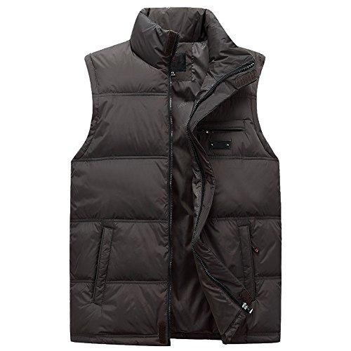 Zipper Jacket Resistant green Down BOZEVON amp; Down Coat Windproof Winter Mens Vest Outwear Sleeveless Water Autumn Deep 1AFwf0q