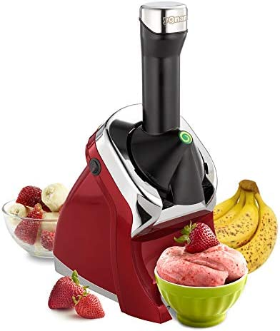Yonanas 988RD Deluxe Frozen Dessert Maker Premium Chrome Design Dairy Fruit Soft Serve is Vegan Alternative to Ice Cream BPA Free Dishwasher Safe Includes 75+ Recipes, 200 Watts, Red