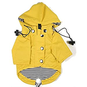 Ellie Dog Wear Yellow Zip Up Dog Raincoat with Reflective Buttons, Pockets, Rain/Water Resistant, Adjustable Drawstring, Removable Hood - Size XS to XXL Available - Stylish Premium Dog Raincoats 86