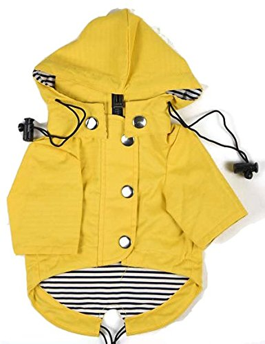 Yellow Zip Up Dog Raincoat With Reflective Buttons, Pockets, Rain/Water Resistant, Adjustable Drawstring, & Removable Hoodie – Extra Small to Extra Large – Stylish Dog Raincoats By Ellie Dog Wear