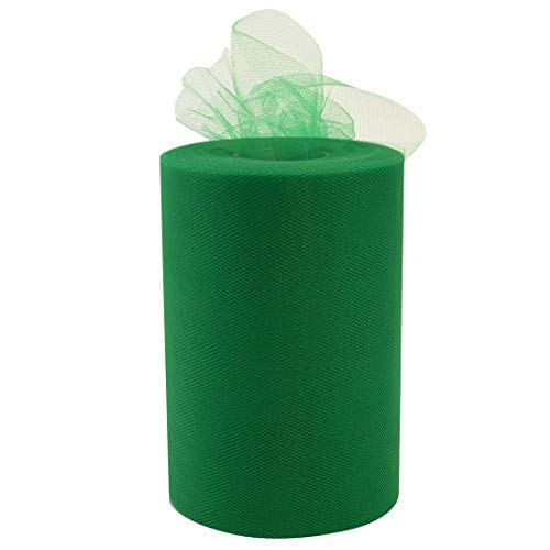 "Emerald Green Tulle Wedding Reception Decor - 6"" x 100 Yards, Fabric Netting Ribbon, Wreath, Garland, Swag, Veil, Streamers, Gift Wrapping, Bows"