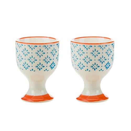 (Nicola Spring Patterned Egg Cups - Blue/Orange Print Porcelain Breakfast Set - Pack of 2)