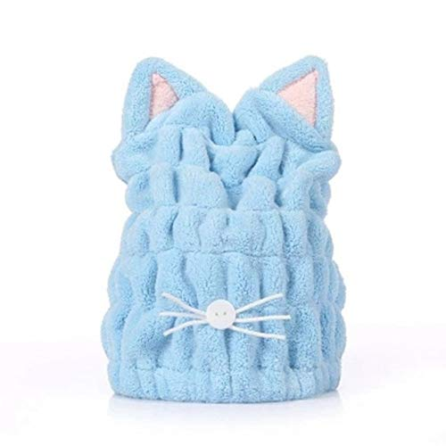 Gotian Coral Fleece Shower Bath Cap Hat Turban Quickly Dry Hair Hat Wrapped Towel Bathing Cap (Blue)