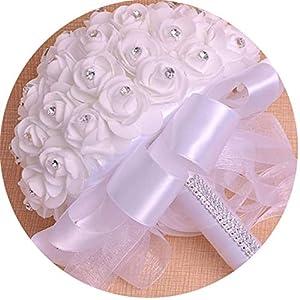 mamamoo Bridal Bouquet Beauty Foam Roses Bride Flower White Blue Purple Satin Romantic Wedding Bouquet,White 84