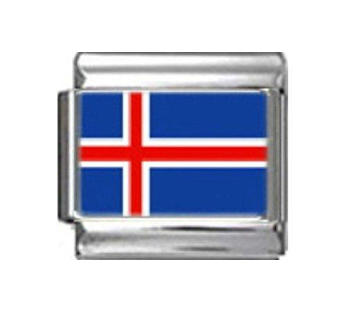 Italian 9 Mm Photo - Stylysh Charms Iceland Icelandic Flag Photo Italian 9mm Link PC079
