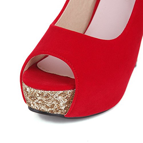 Solid Suede Red Stilettos Imitated Toe Spikes Pull On Peep Women's AllhqFashion Sandals O1q41