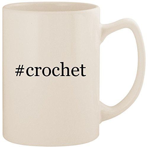 #crochet - White Hashtag 14oz Ceramic Statesman Coffee Mug Cup