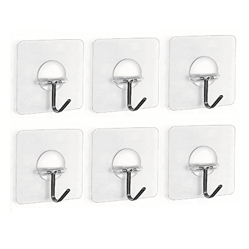 Fealkira 13.2lb/6kg(Max) Nail Free Transparent Reusable Heavy Duty Wall Hooks for Towel Loofah Bathrobe Clothes,No Scratch,Waterproof and Oilproof,Bathroom Kitchen Wall hook & Ceiling Hanger(6)