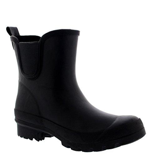 Mujer Chelsea Clásico De Altura Lluvia Chanclos Caucho Botas De Goma Negro