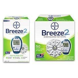 Bayer Breeze 2 diabète Kit de surveillance Combo (Kit compteur et Breeze2 Bandelettes 50ct.)
