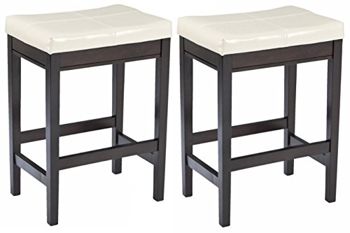 Ashley Furniture Signature Design - Kimonte Upholstered Barstool - Set of 2 - Ivory with Black Base (Chairs White Table And Height Counter)